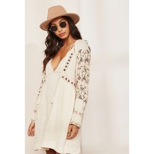 Free People All My Life Embroidered V-Neck Dress